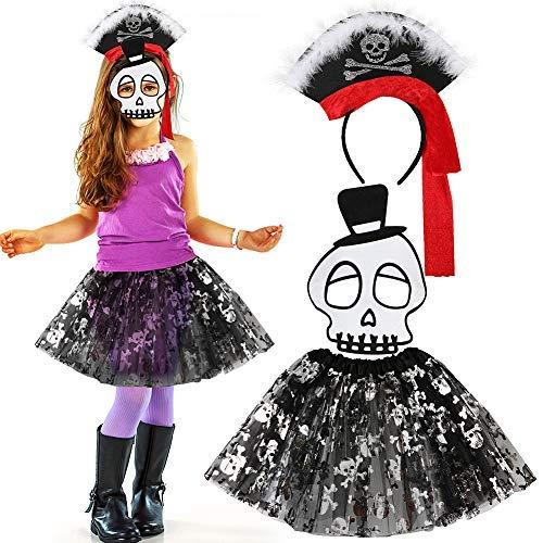 (JDYW 3 Stück Pirat kostüm für mädchen mit Schädel Drucken Rock Skelett Maske Stirnband für Kinder Verkleiden Halloween kostüm Party Outfit 4-9 Jahre)