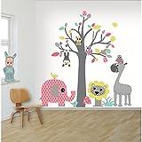 DecoDeco Wandtattoo Baum safari Rosa. Wandbild im Baummotiv mit vielen Tieren: Elefant Giraffe Löwe Affe Eule. Schönes Wandsticker für das Kinderzimmer.