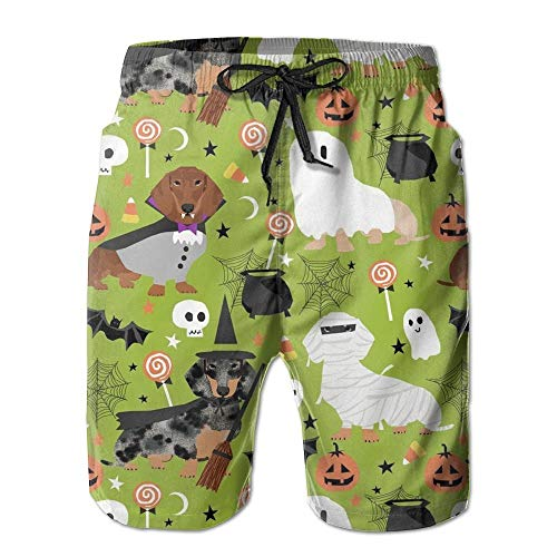 Paint0 Dachshund Halloween Men's Quick Dry Beach Board Shorts Summer Swim Trunks XL -