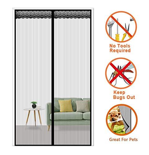 Ablea Magnetischer Türvorhang mit Glasfaser Meterial Insektenschutz für Balkontür, Klebemontage Ohne Bohren, Fliegengitter Magnetvorhang für Türen,Black,100x240cm