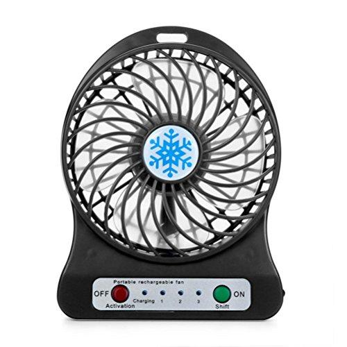 Sommer Ventilator FORH Mini Desktop USB Personal Fan Aufladbarer Batterie Lüfter Kraftvoller und geräuscharmer Turbo-Ventilator Beweglicher 3 Einstellbare Geschwindigkeiten Tischventilator (Schwarz)