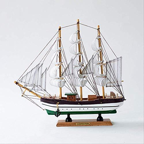 SDAFGSF Vorbildliche Dekoration,33cm Massivholz Segelboot einfaches Segelmodell Holzhandwerk glattes Segeln -