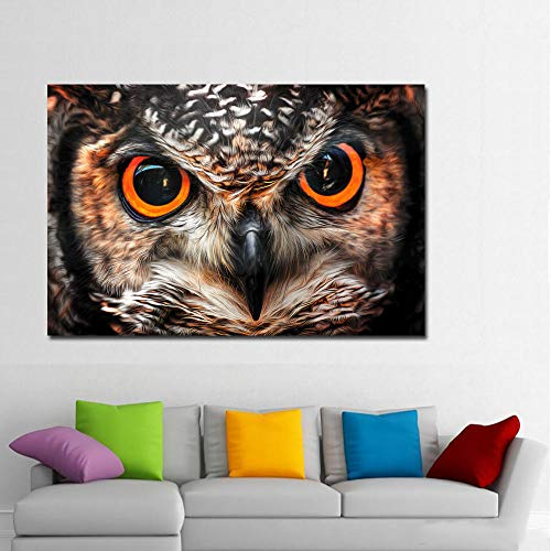 Big Eyes Of Owls Painting Posters And Prints Animal Wall Art Canvas Painting Print On Canvas For Living Room Home Decoration 50Cmx70Cm