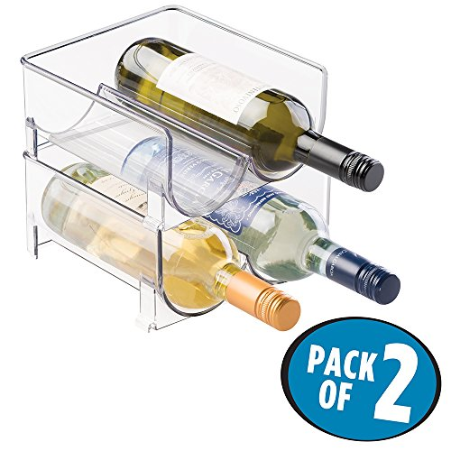 mDesign 2er-Set Flaschenregal ? stapelbare Aufbewahrung für Weinflaschen und andere Getränke ? modernes Weinregal aus Kunststoff für 4 Flaschen ? transparent