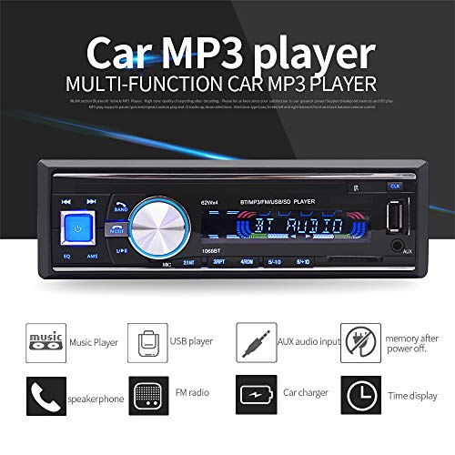 vijtian OLED Farbdisplay Digital Stereo FM Radio Bluetooth Wireless Auto Stereo Radio Audio MP3 Player In-Dash USB FM SD AUX (Kicker Lautsprecher-kabel)