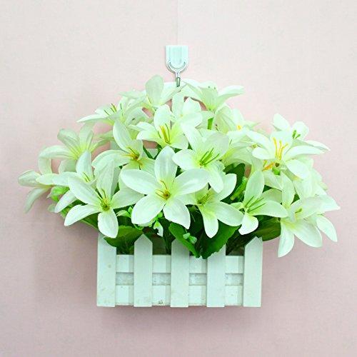 ALLDOLWEGE Personnalisé simple émulation menuiserie plastique en pot en pot pot de fleurs d'émulation de dans le mur lumière jardin exquis decorationThatWhite Kit Crochet +Lily