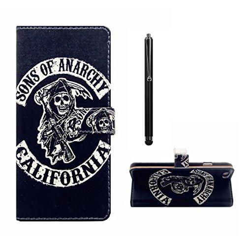 MUTOUREN für LG G2 Brieftasche Flip Case Cover - PU Leder Bookstyle Klapphülle Wallet Case für für LG G2 Portemonnaie Hülle Schutz Ultra Dünn Handy Tasche Geldboerse Schutzhülle - Sons of Anarchy + Metall Stylus Pen