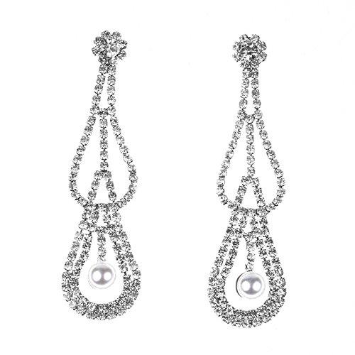 Metme Tropfen Form Lange Ohrringe Strass Simulierte Perle Party Zubehör Tiered Dangle Ohrringe