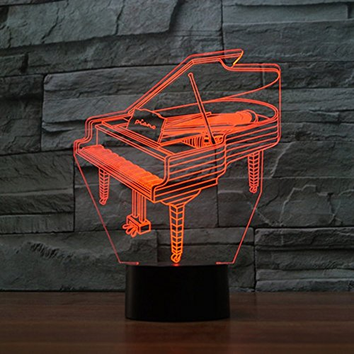 LED Nachtlicht,KINGCOO Magical 3D Visualisierung Amazing Optische Täuschung Touch Control Light 7 Farben ändern Schreibtischlampen für Kinderzimmer Home Decoration Best Geschenk (Piano) - 3