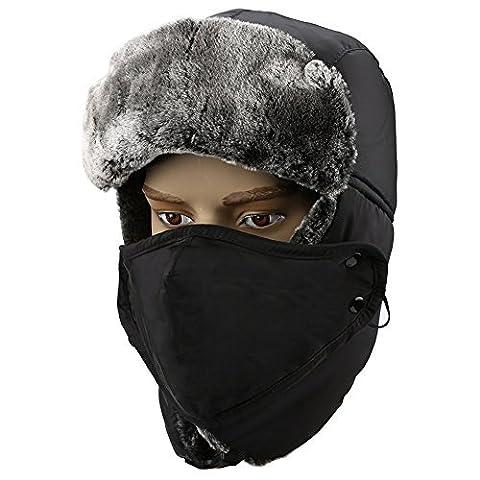 Trooper Trapper Hat, Fazila Unisexe hiver fourrure chaud chasse chapeau ushanka Bomber Cap Aviator russe Hat avec masque coupe-vent oreille Flap (Noir-BK)