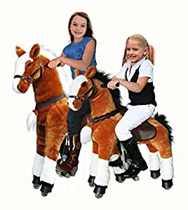 UFREE Action Pony, Large Mechanical Horse Toy, Ride on Bounce up and down and Move, Height 44'' for Children 4 to 15 Years Old (White Mane)