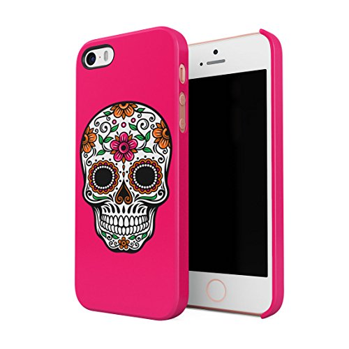Sugar Candy Mexican Skull Blumen Ornaments Dünne Rückschale aus Hartplastik für iPhone 5 & iPhone 5s & iPhone SE Handy Hülle Schutzhülle Slim Fit Case Cover