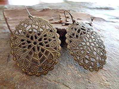 ? Filigree Ornement ? Bronze Vintage Boucles D'oreilles