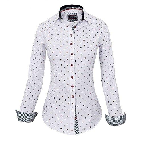 HEVENTON Hemdbluse Bluse Damen Langarm in Weiß Größe 34 bis 42 - elegant und hochwertig 1174 Farbe Weiß, Größe 42