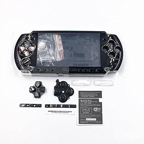 Schutzhülle mit Tasten Kit Set für Sony PSP3000PSP 30003001300230033004Serie Ersatz, Schwarz ()