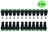 [12 Paar] DC Männlich und Weiblich Netzteil Adapter 2.1 * 5.5mm 12V Stecker und Jack DC Power Anschlüsse Stecker Adapter Einfache Montage Verwendet für Überwachen Dünne Kabel CCTV Kameras LED Leuchten mit Lichtern