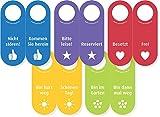 5x Filz Türhänger in allen Farben/Aufschriften mit Zeichen des Dankes (100% Wollfilz) - Vor- und Rückseite des Türschildes sind beschriftet