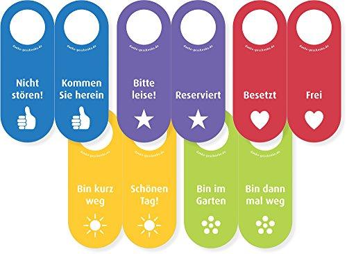 5x Filz Türhänger in allen Farben/Aufschriften mit Zeichen des Dankes (100% Wollfilz) - Vor- und Rückseite des Türschildes sind beschriftet (100% Wollfilz Herz)