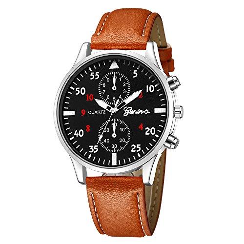 Armbanduhr herren Liusdh Uhren Geneva Fashion Leder Military Alloy Quarz Business uhr(D,Einheitsgröße)