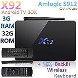 X92 Android 7.1 OS Smart TV Box Amlogic S912 Quad Core 3GB 32GB 64bit 4K H.265 60fps 2.4/5.0GHz Wifi 1000M LAN BT4.0 + MX3 Backlit Keyboard