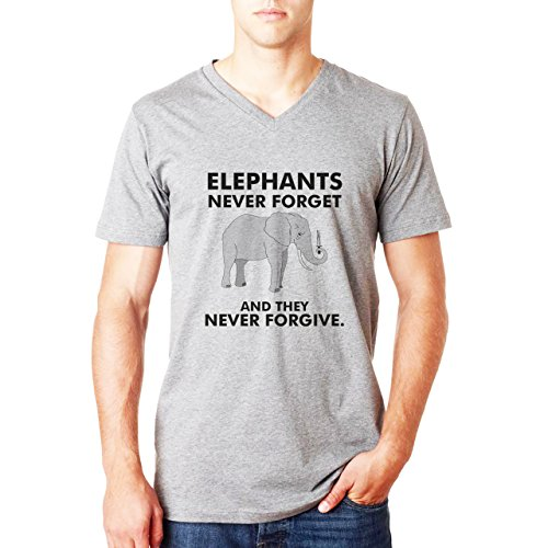 Elephants Never Forget And They Never Forgive XL Uomini V-Neck T-Shirt