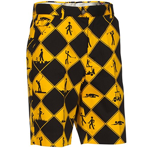 Loudmouth Golf Shorts (Royal & Awesome Herren Golf Shorts - Swing Under Construction)