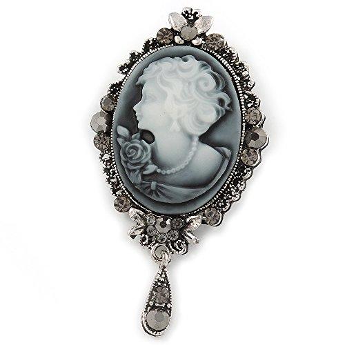 Vintage-inspirierte graue Kristall-Kamee mit Anhängerbrosche in Antik-Silber - 70 mm lang, von Avalaya