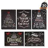 Set 60 Pezzi Cartoline di Auguri di Natale + Buste in Stile Lavagna, Biglietti Auguri, 6 Disegni Diversi.