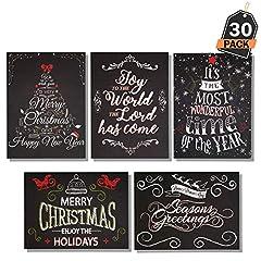 Idea Regalo - Set 60 Pezzi Cartoline di Auguri di Natale + Buste in Stile Lavagna, Biglietti Auguri, 6 Disegni Diversi.