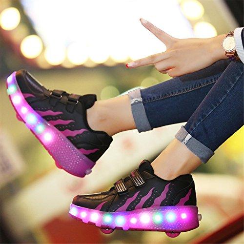 AIMOGE Lumineuses Chaussures à Roulettes Baskets Sneakers clignotante Patinage Fille Garçon Chaussures de Sport LED avec 3 Colorés Enfants Rose noir