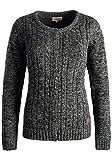 DESIRES Philena Damen Strickjacke Cardigan Zopfstrick mit Rundhalsausschnitt aus 100% Baumwolle Meliert, Größe:L, Farbe:Black (9000)