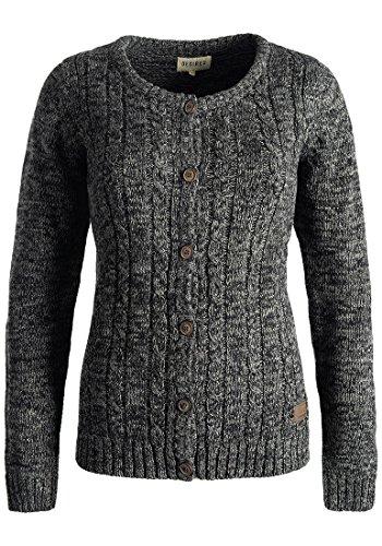 DESIRES Philena Damen Strickjacke Cardigan Zopfstrick mit Rundhalsausschnitt aus 100% Baumwolle Meliert , Größe:L, Farbe:Black (9000)