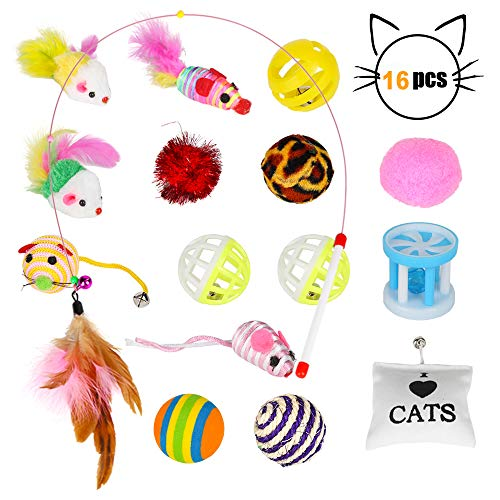 Nomisty Katzenspielzeug, 16 Stück Katzenspielzeug Set Für