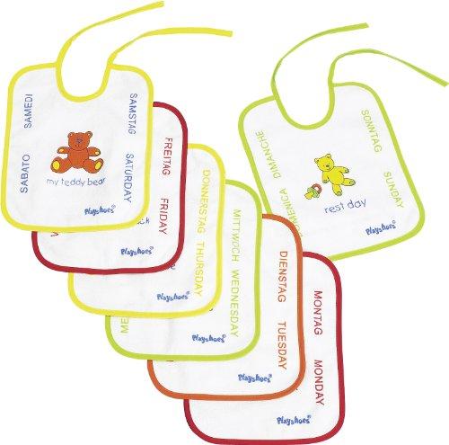Playshoes 507170 - Pack de 7 baberos con imágenes divertidas, diseño de peluche, 25 x 20 cm, multicolores