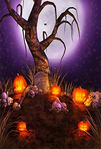 MMPTn 3x5ft Spooky Halloween Party Hintergrund Horror Szene Alter Kahler Baum Ghost Jack O Laterne Schädel Hintergrund Kinder Erwachsene Hallowmas Photoshoot Back Drop Photo Booth Requisiten