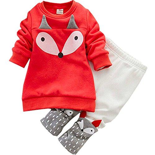 Newsbenessere.com 51%2BGzNeEg8L Completo Invernale per Bimba Bambina Animato Volpe Rosso Abbigliamento Termico Set Felpa Pantaloni Felpati by Gaorui