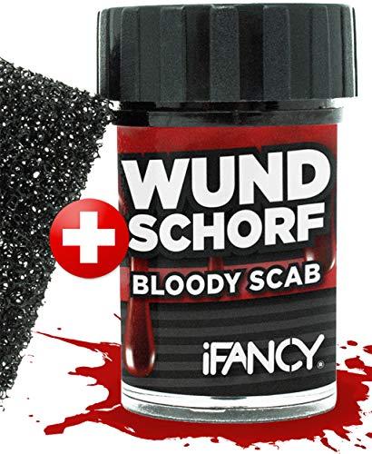 iFancy Wundschorf Blut mit Schwamm für realistische Wunden - verkrustetes Kunstblut Halloween Karneval Makeup Blutgel