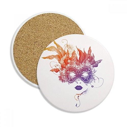 DIYthinker Maske Gnade Glücklicher Karneval von Venedig Keramikuntersetzer Schalen-Becher-Halter Absorbent Stein für Getränke 2Pcs Geschenk Mehrfarbig (Gnade Geschenk)