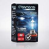 2x H8 12V 35W Diamond Vision Xenon Look Effekt Halogen Lampen Birnen Optik Super White 8500K Abblendlicht Nebelscheinwerfer Kaltweiss Weiß Duobox PGJ19-1
