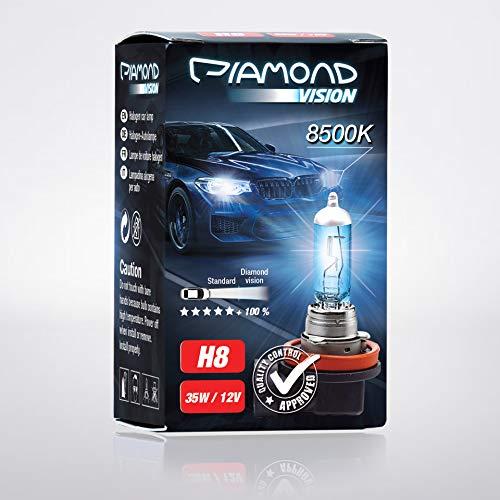 Preisvergleich Produktbild 2x H8 12V 35W Diamond Vision Xenon Look Effekt Halogen Lampen Birnen Optik Super White 8500K Abblendlicht Nebelscheinwerfer Kaltweiss Weiß Duobox PGJ19-1