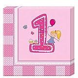 Procos 85712 Erster Geburtstag Mädchen 20x 2-lagige Papierservietten 33x33cm, rosa
