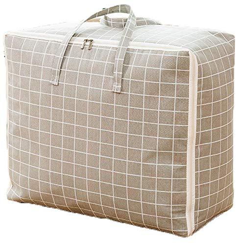 PGYZ Baumwolle und Leinen tragbare Kleidung Aufbewahrungsbox wasserdichte Reisetasche grau Gitter 70x50x30CM (Kunststoff-twin-bett-decke)