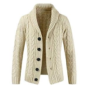 MAYOGO Strickjacken Herren Außenkragen Knitted Cardigan Mantel Männer Mode Beiläufige Knopf Gestricktem Pullover Jacke Winterjacke for Mens