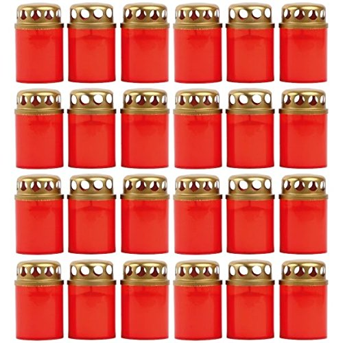 24 Grabkerzen Stundenbrenner Ersatzkerzen Grablicht Öllichter Grableuchte mit Deckel Auswahl: 24 Stück
