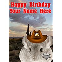 Chinchilla j750 Cowboy Sheriff Fun Cute Happy Birthday A5 Personalised Greeting card POSTED BY US GIFTS FOR ALL 2016 FROM DERBYSHIRE UK