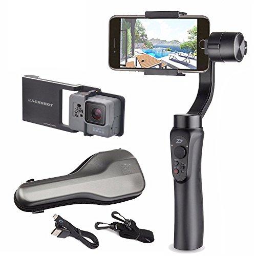 Galleria fotografica Zhiyun nero smooth q 3-assi Handheld Gimbal stabilizzatore per smartphone viene iPhone, Samsung. Huawei e GoPro Hero 5/4/3 controllo wireless (Nero Smooth Q + action camera adapter)