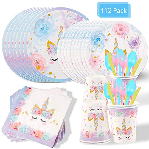 Amycute 112 Pezzi Unicorno Party Kit Compleanno, Unicorno Party Piatti, Bicchieri, Tovaglioli, Coltello, Forchetta e Cucchiai, Feste Unicorno per Bambini Ragazze Festa di Compleanno Baby Shower