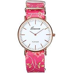 Casual Frauen Rose Floral PU Band Analog Quarz Leder Elegant Armbanduhr