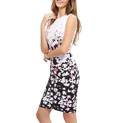 Yieune Sommerkleider Damen Blume Abendkleid Ärmellos Strandkleid Knielang MiniKleider Shift Kleider Rosa