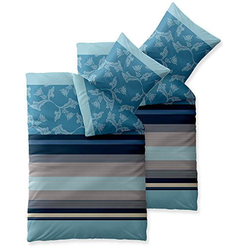 aqua-textil Trend Bettwäsche 135 x 200 cm 4teilig Baumwolle Bettbezug Isabis Streifen Blumen Blau Türkis Beige -